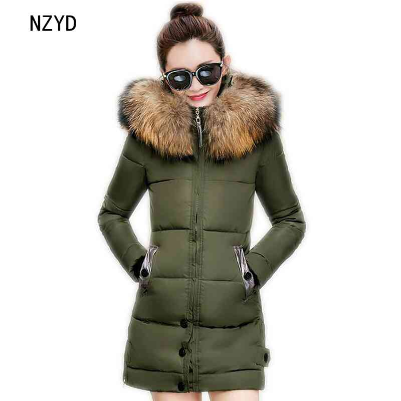 Winter Women Parkas 2017 New Fashion Hooded Thick Super warm Medium long Jacket Patchwork color Slim Big yards Coat LADIES195 2017 new winter fashion women parkas hooded thick super warm medium long coat casual slim big yards cotton padded jacket nz308