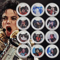 WR Quality 999.9 Silver Plated Michael Jackson Customized Metal Coins 12Pcs Famous Singer Commemorative coin For Christmas Gifts