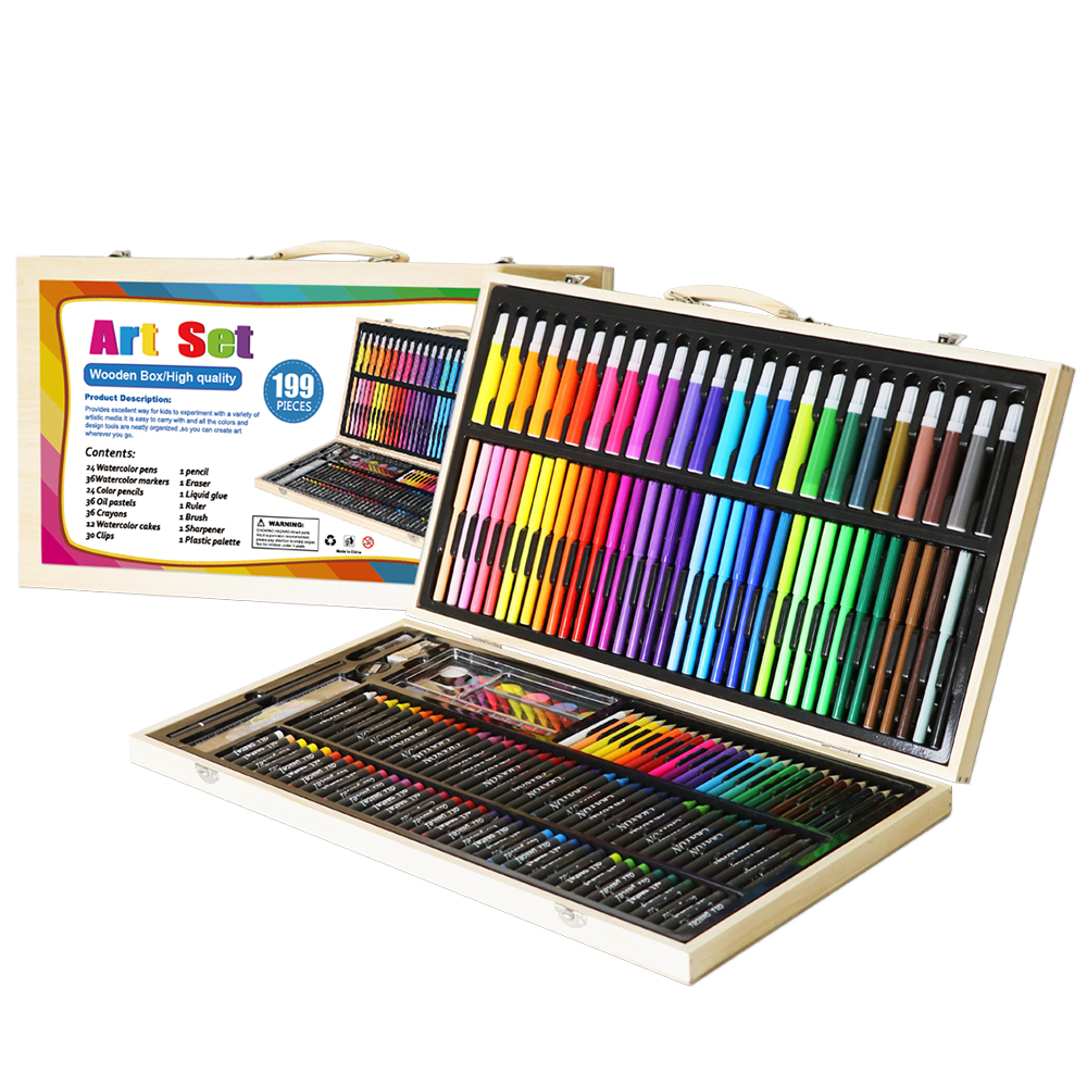 3 Drawer Artist Wood Art Storage Box for Pencil Pen Pastel Marker Art Set