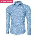 Camisa Мужская Одежда 2016 Осень С Длинным Рукавом Случайные Галстук-Окрашенные Джинсовые Рубашки Slim Fit Мужчины Уличной Блузки Мода Camisa Masculina