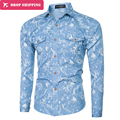 Camisa Male Clothes 2016 Fall Long Sleeve Casual Tie-Dyed Denim Shirt Slim Fit Streetwear Men Blouses Fashion Camisa Masculina