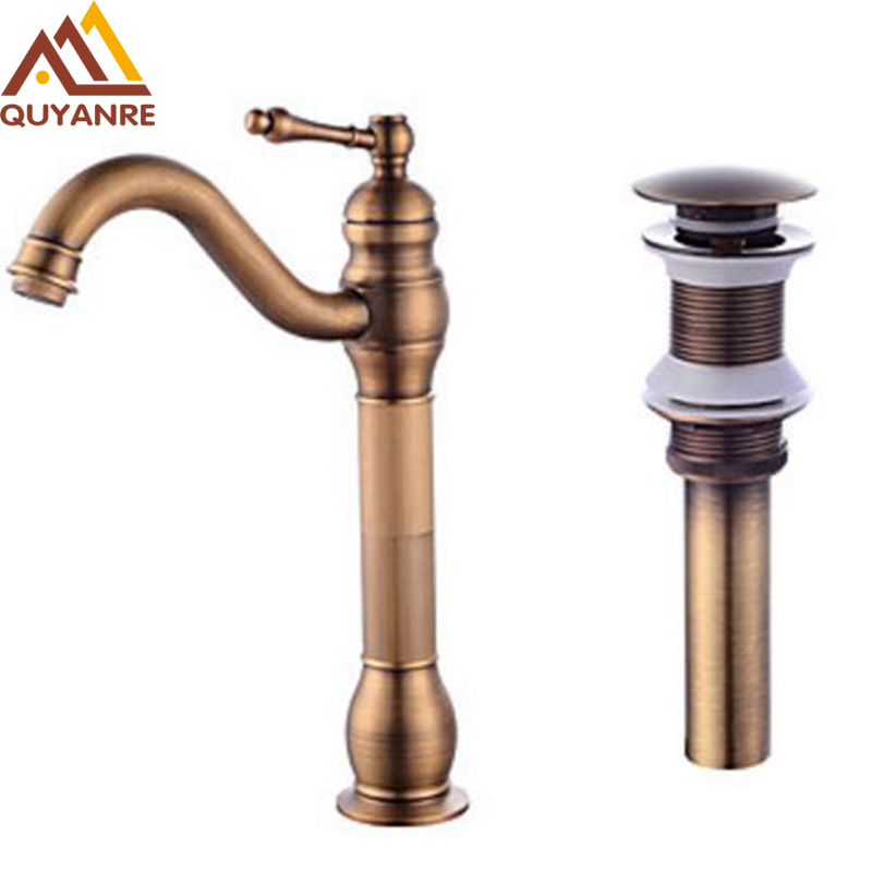 Deck Mount Long Type Antique Copper Bathroom Basin Faucet With Mixer Tap Pop Up Drain Single Handle Single Hole antique bronze siphon bottle traps pop up basin waste drain basin mixer p trap waste pipe into the wall drainage plumbing tube