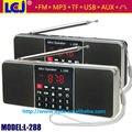 L-288 mejor calidad mini radio portátil mini altavoz reproductor de MP3 con sonido estéreo bajo estupendo soporte de tarjeta TF y USB flash drive