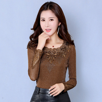 Women Tops Spring Autumn Sexy Blusas O neck Lace Solid Shirts Long Sleeve Blusa Feminina Slim Casual Blouses Plus Size