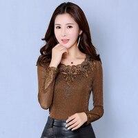 Women Tops Spring Autumn Sexy Blusas O Neck Lace Solid Shirts Long Sleeve Blusa Feminina Slim