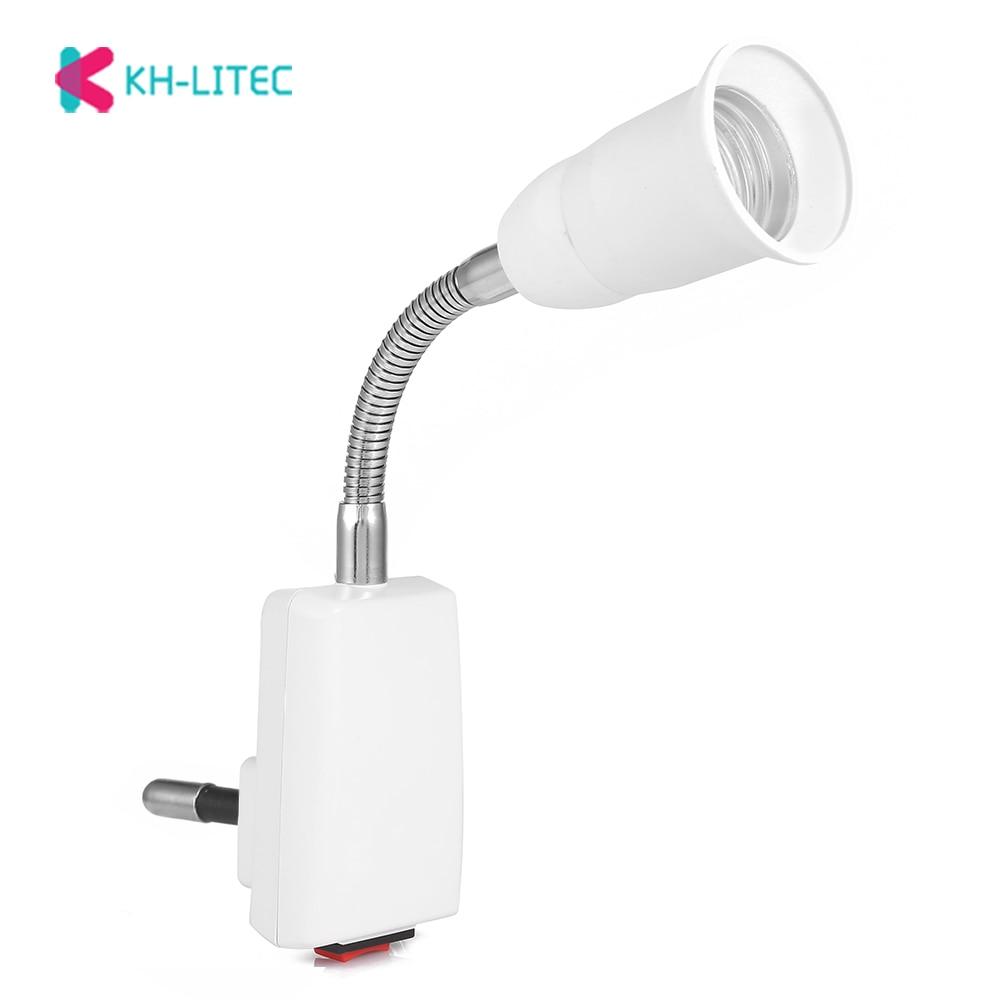 AC 100 - 240V E27 20CM Flexible Lamp Holder Light Lamp Bulb Holder White Flexible Converter On/Off Switch Adapter Socket EU Plug