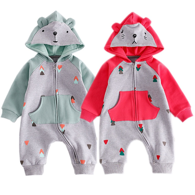 Toddler Baby Autumn Rompers Girl Boy Outerwear Cotton Infant Overalls Long Sleeve Cartoon Infant Hooded Warm Velvet Clothing