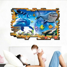 Home Decorations 3D Wall Sticker Dolphin Underwater World Waterproof Wallpaper for Kids Rooms kitchen Bathroom Wall Decals Diy цена 2017