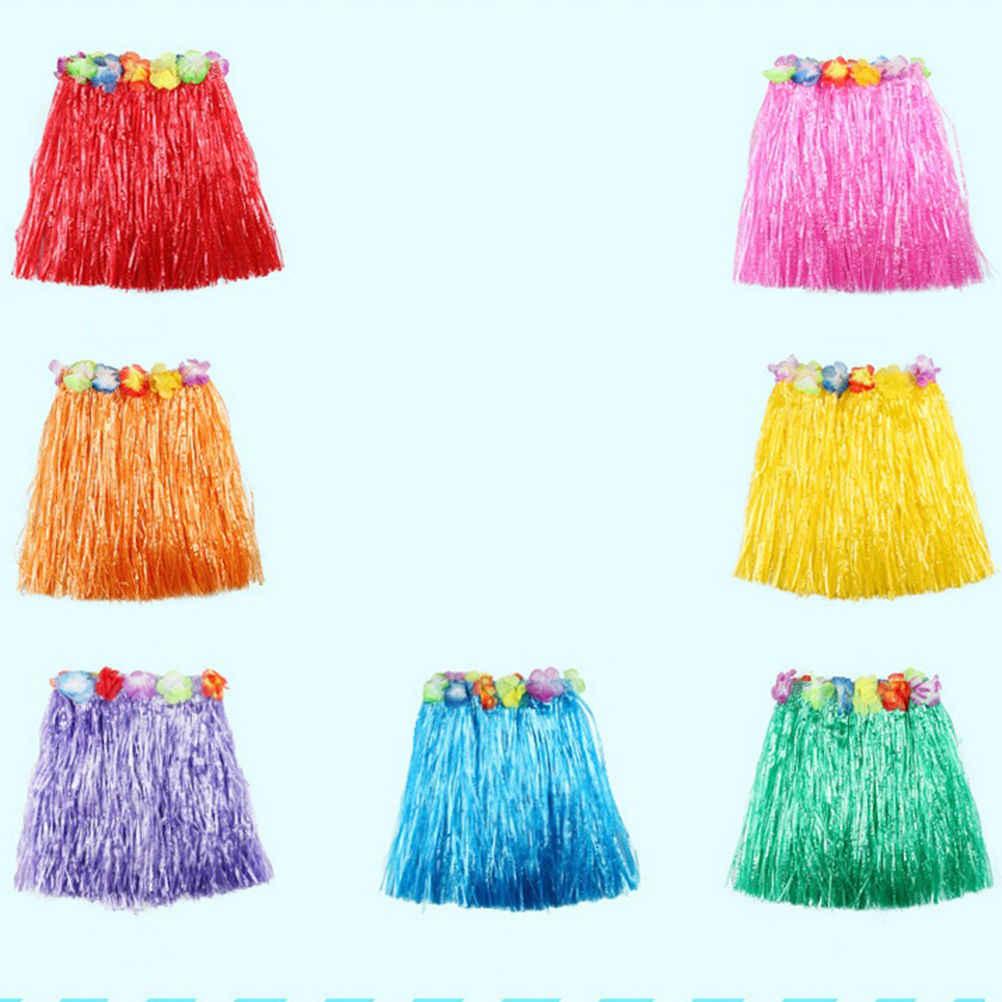 bee40740c485b ... Wholesale 10 Colors Plastic Fibers Kid Grass Skirts Hula Skirt Hawaiian  costumes 30CM Girl Dress Up ...