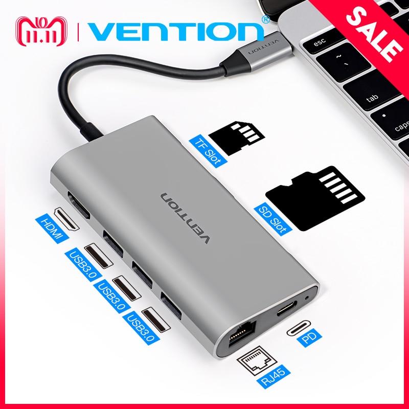 Vention Thunderbolt 3 Dock Adapter USB C to HDMI VGA USB 3.0 HUB RJ45 PD for MacBook Pro Huawei P20/Mate 10 USB-C HUB зеленый альянс тип c в hdmi vga dp конвертер apple macbook dock adapter кабель для передачи данных с зарядным устройством pd usb c hub 3 0hub splitter 40872