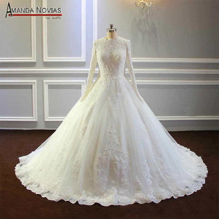 Elegant muslim wedding dress 2019 custom order size