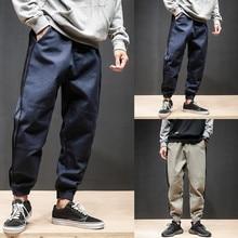 Новая уличная Мужская хип-хоп махровая Повседневная Уличная Спортивная балка ноги шаровары джоггеры брюки с боковыми карманами хлопковые мужские брюки