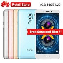 """Mondiale Huawei Honor 6x LTE Mobile téléphone 4 GB RAM 64 GB ROM L22 Android 6.0 5.5 """"Kirin 655 D'empreintes Digitales 3340 mAh Double Arrière Caméras"""