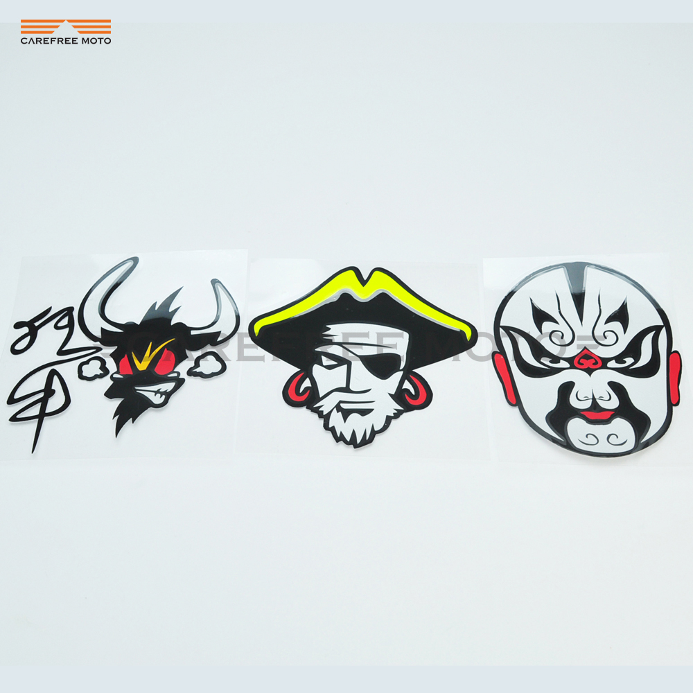 2 PCS Mad cow Peking opera Eastern culture motorcycle for Car Rear View Mirror Reflective sticker