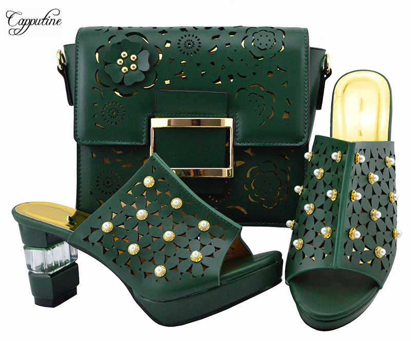 Fashionable dark green lady high heel pump shoes with bag sets nice shoes with handbag for wedding/party YM007 heel height 8.5cm