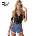 YIKUYIYA Punk Denim Shorts Women 2017 New Streetwear Floral Embroidery Shorts Female Rough Selvage Casual Mini Shorts Ladies