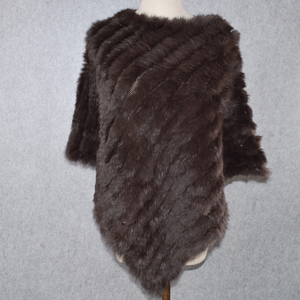 Image 2 - Лидер продаж, Женский вязаный шарф пончо ручной работы из натурального кроличьего меха, шарф из 100% натурального кроличьего меха, шаль из пашмины