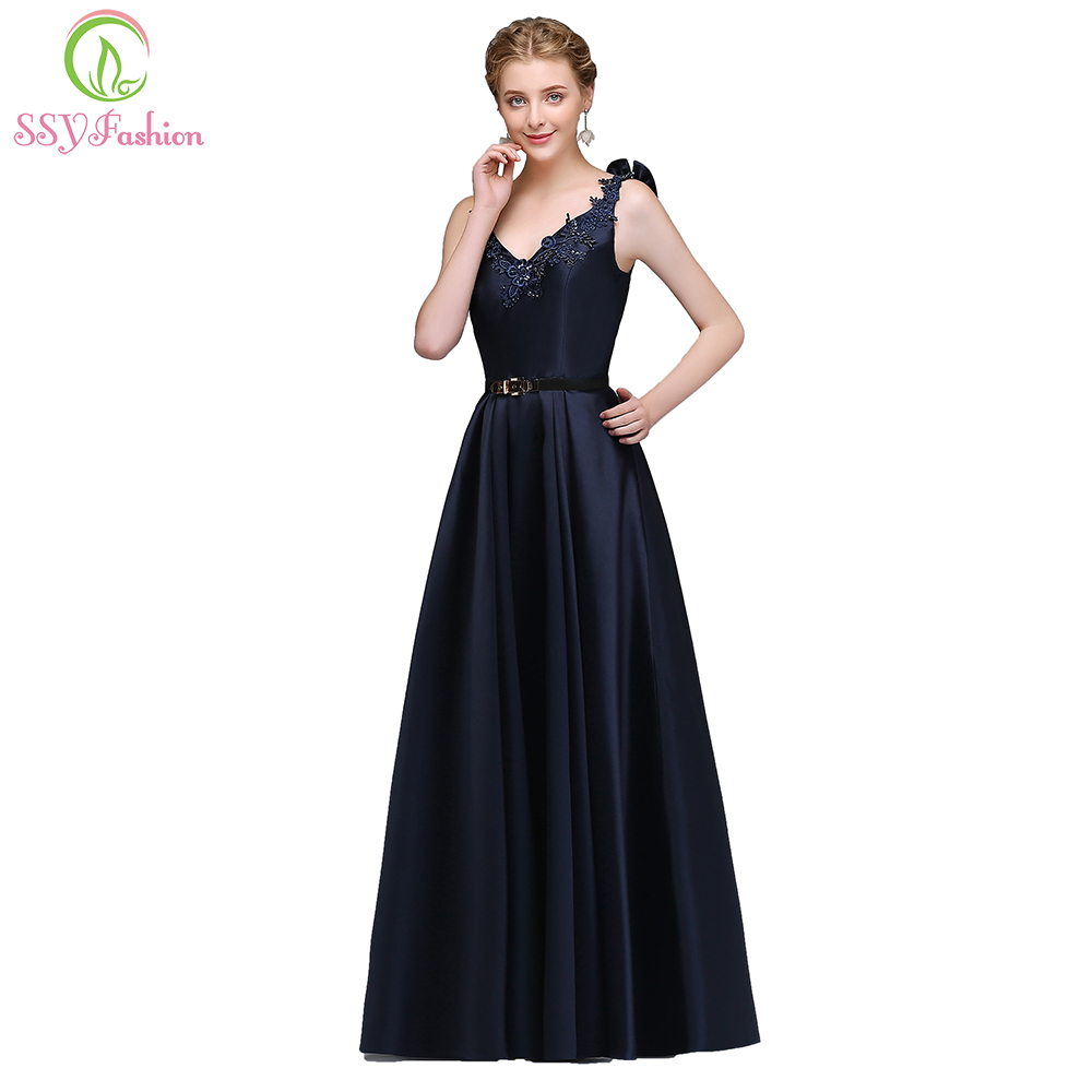 SSYFashion New Simple Evening Dress the Bride Banquet Elegant V-neck Navy  Blue Satin Floor-length Party Gown Custom Formal Dress fd5909e5b12a
