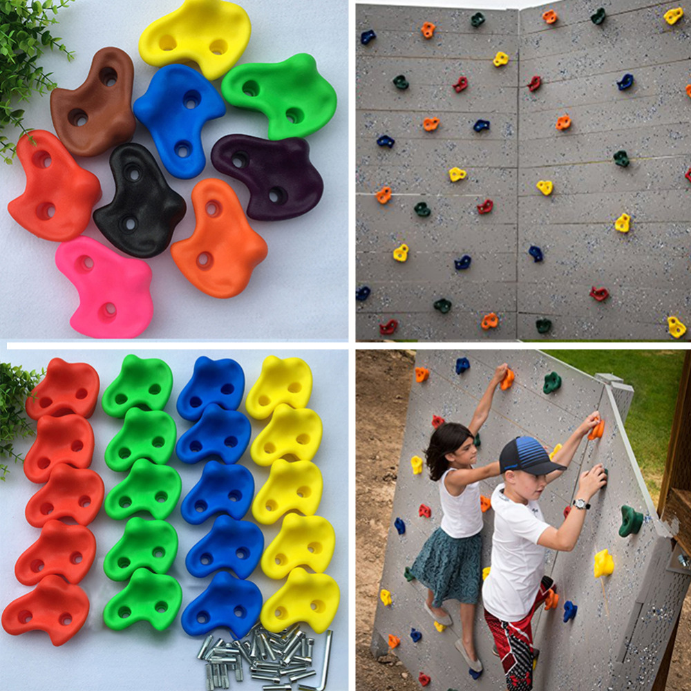 Image 2 - 15 pcs 12cm Big Size Plastic Children Kids Rock Climbing Wood Wall Stones Hand Feet Holds Grip Kits Without Screw Random Color-in Toy Sports from Toys & Hobbies