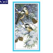 NKF Autumn birds animal style needle craft cross st