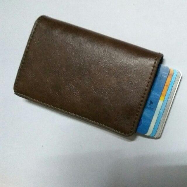 Men Women Aluminum Id Cash Credit Card Holder Business Protector Case Pu Leather Blocking Rfid