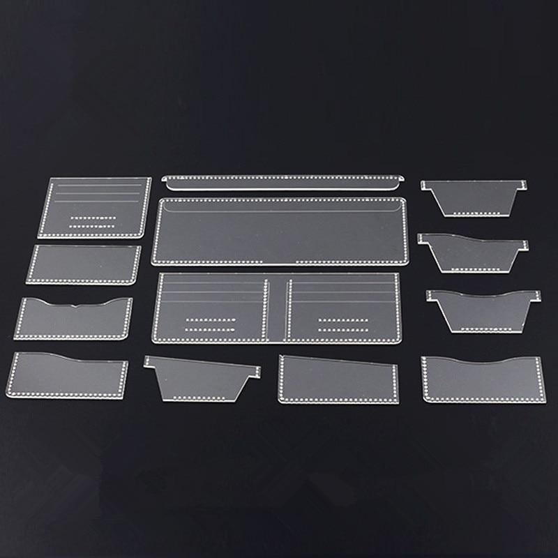 b1022d07 13 piezas nuevo patrón de cartera de acrílico transparente plantilla Set de  cuero artesanía DIY herramienta de costura patrón de costura plantillas