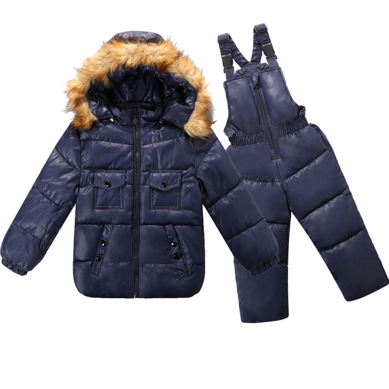 Baby Winter Snowsuit Boys Girls Warm Duck Down 2pcs Jacket+Rompers Little Kids Fur  Coats Overalls Baby Winter Clothes 12M-4T