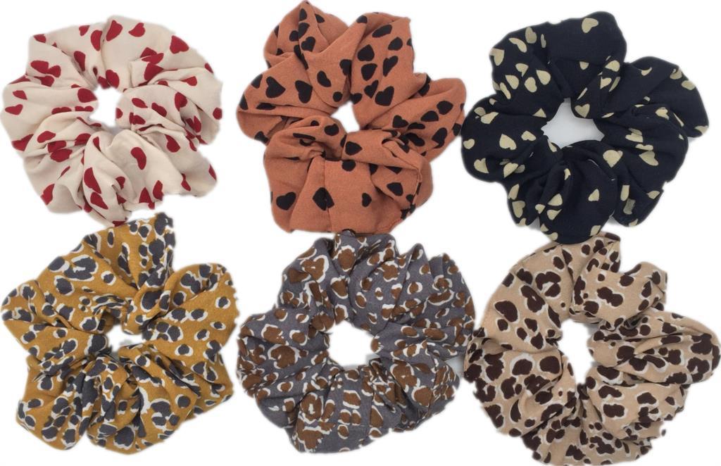6 шт/лот Бархатные эластичные резинки для волос, резинки для волос для девочек, не складываются, леопардовые женские большие мелкие блестки из шифона с цветочным рисунком - Цвет: PJ096-6PCS