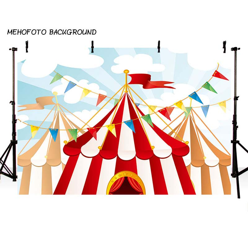 MEHOFOTO Children Circus Birthday Party Photo Background 7x5ft Thin Vinyl Photography Backdrops for Photo Studio Custom ZH-133 circus banner party backdrops vinyl cloth computer printed children photo background circus
