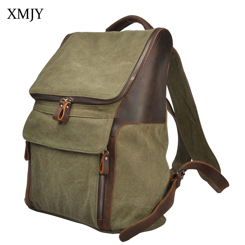 XMJY Canvas Backpack Men Women Retro Fashion Travel Bags Multi Pockets Students Leisure Schoolbag Crazy horse Leather Rucksack fashion new women students lovely canvas backpack college small cartoon print sathel multifunction travel bags mochila feminina