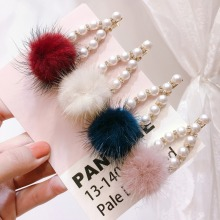 Korea Hair Accessories Wool Flower Pearl Diamond Clips For Girls Crystal Bows Hairpins Barrette 4