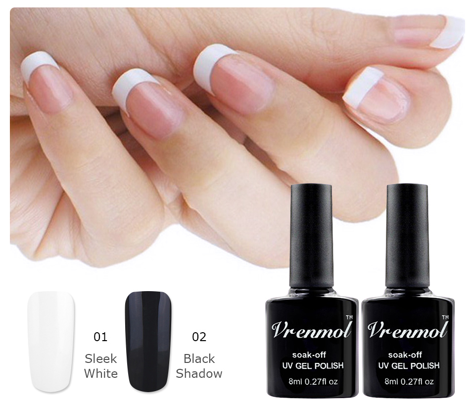 Vrenmol 2pcs Classic Black White Color Vernis French Manicure Set ...