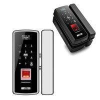 Glass door fingerprint lock office card single and double door wireless free hole security door intelligent electronic password