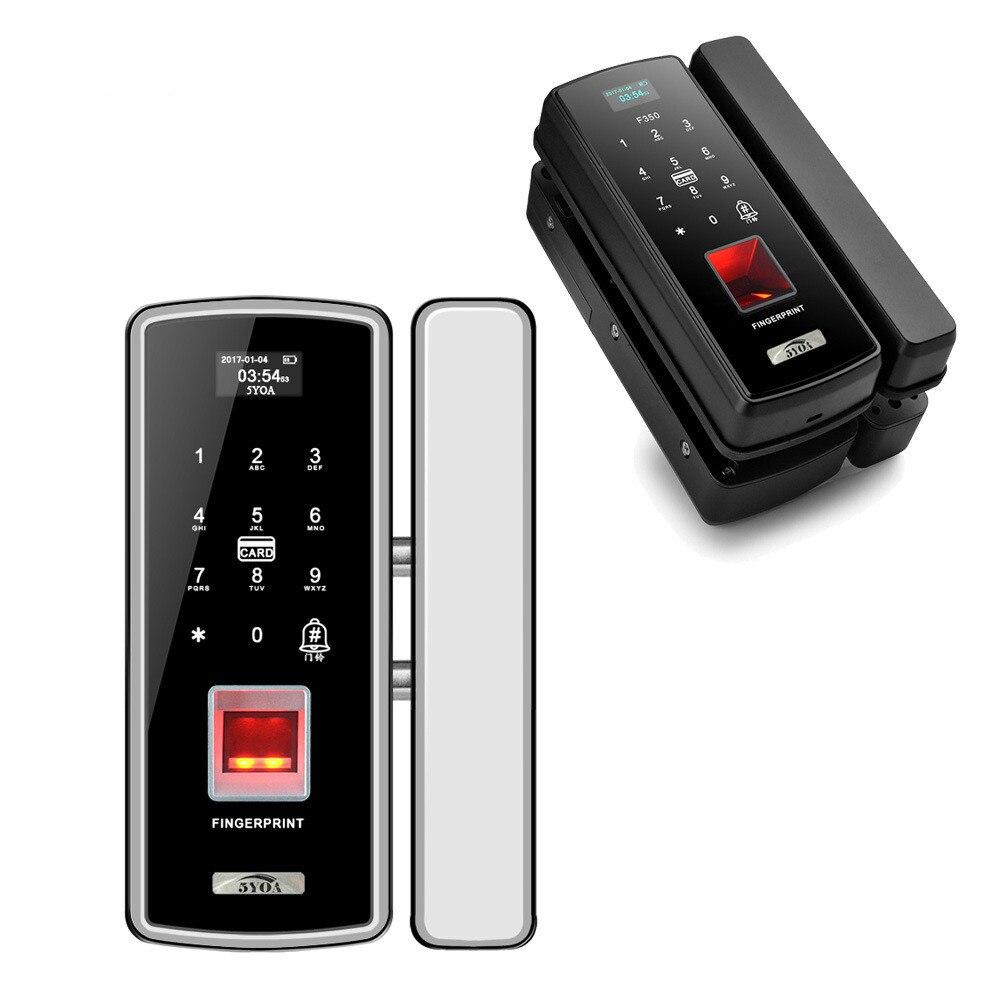 Porte en verre serrure d'empreintes digitales carte de bureau simple et double porte sans fil trou libre porte de sécurité mot de passe électronique intelligent