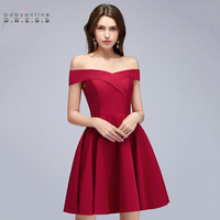 Babyonline Reflective Dress Off The Shoulder Burgundy Short Cocktail Dresses 2019 Party Dresses Sleeveless Women Dress