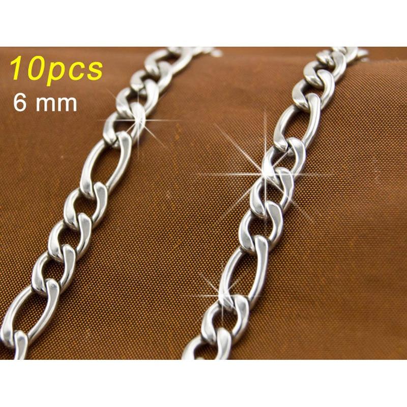 10 unids JOYERÍA de MODA plata 6mm figaro Cadena DIY accesorios 316 Collar de Acero Inoxidable
