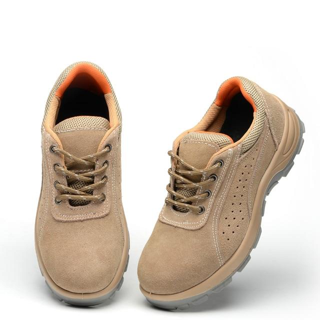 Большой размер мужчины дышащий платье стальным носком рабочая безопасности летняя обувь отверстие для воздуха мягкая замша кожа оснастки сапоги zapato мужской