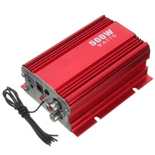 NEW 500W Car Motorcycle Motorbike 2CH 2 Channel Audio AMP Amplifier USB MP3 FM Red