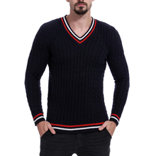 Casual Mens V-neck Sweater Colorful Stripe Loose Pullover Green Navy Blue Man Tops Plus Size M-2XL