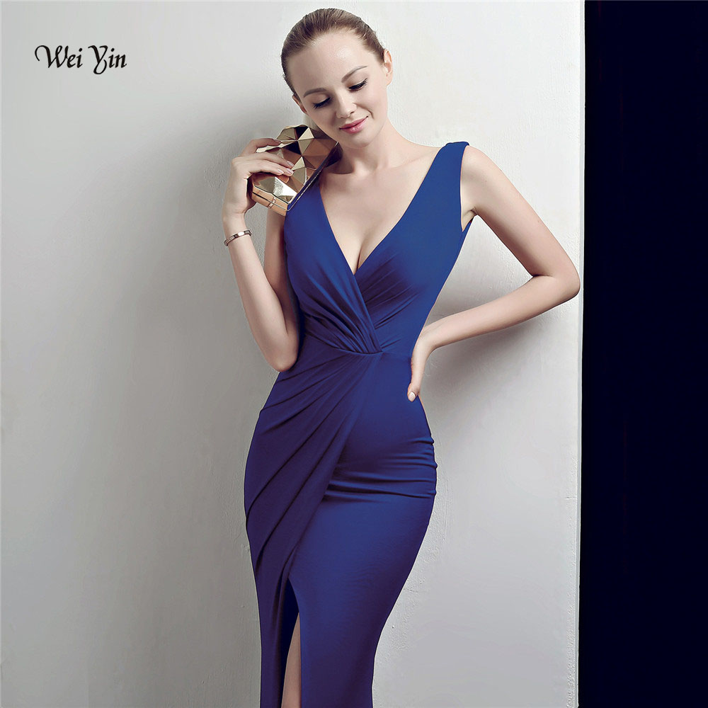 weiyin Blue Mermaid   Evening     Dress   2018 Sexy Sleeveless Split Formal Celebrity Long   Evening   Gown   Dresses   robe longue WY1032