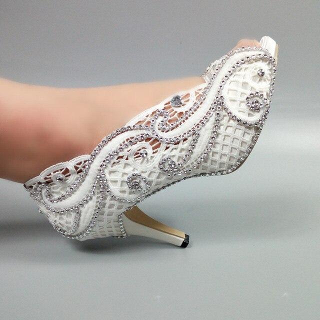 White Wedding shoes Bride fashion Open toe shoes woman party dress shoes Peep Toe crystal Bride bridesmaid Pumps