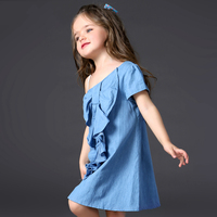 Vintage Designs Kid Baby Girls Blue Dress Fashion Single Shoulder Summer Princess Strap Dress Sundress For