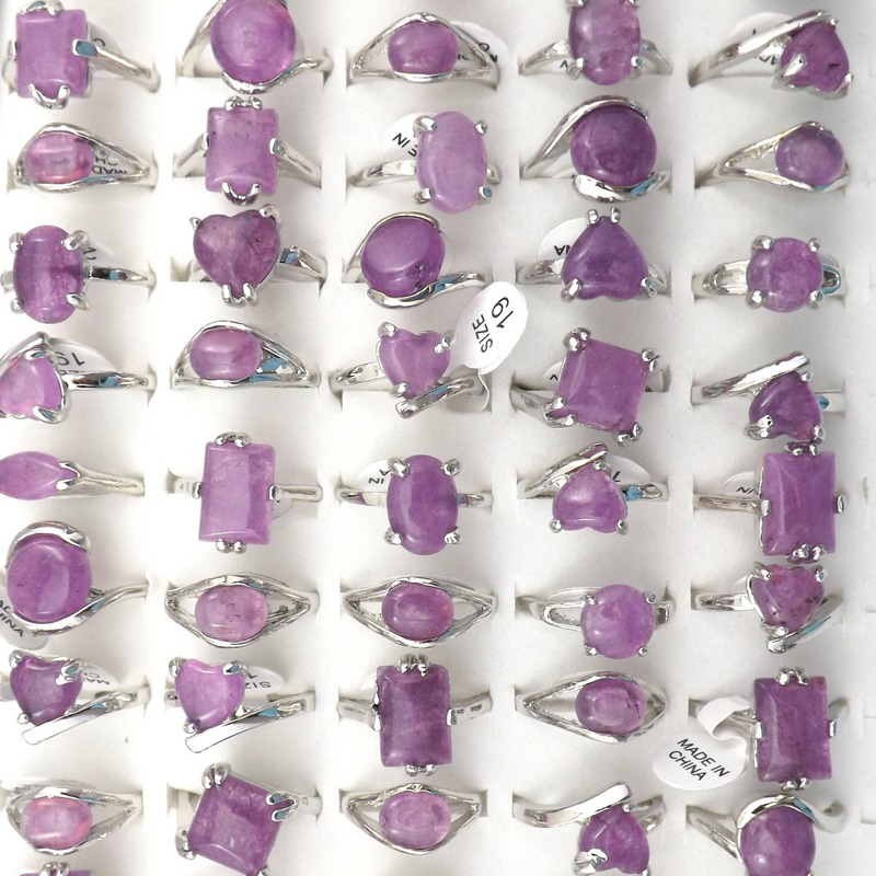 Natural Purple Crystal Stone Rings European Style Women's Ring Bague 50pcs Valentine's Day Gift