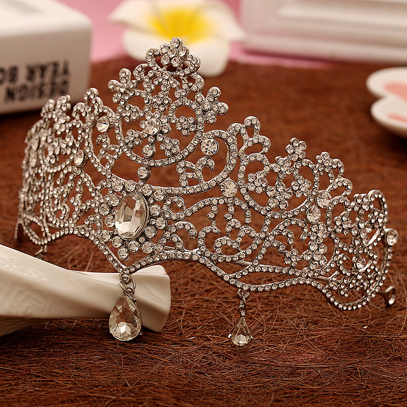 Crown Wedding Hair Accessory: Large Pageant Tiara Wedding Hair Jewelry Hollow Rhinstone