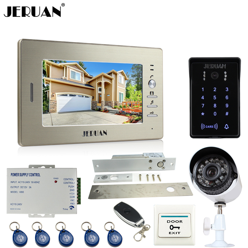 JERUAN perfect 7``video door phone intercom System monitor waterproof Touch Key password keypad Camera+700TVL Analog Camera+lock jeruan 8 inch tft video door phone record intercom system new rfid waterproof touch key password keypad camera 8g sd card e lock