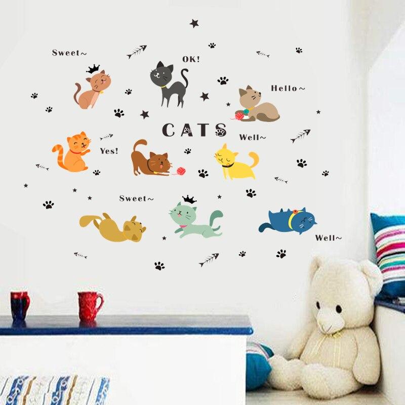 US $3.04 16% di SCONTO|Carino gatti che giocano wall stickers per bambini  camere camera da letto decalcomanie di arte della parete del fumetto della  ...