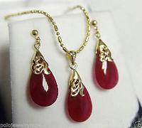 Argent réel-bijoux de Mariage des Femmes Nouveau Bijoux Rouge gem Goutte collier boucles d'oreilles + chaîne 5.23 bijoux en argent brinco
