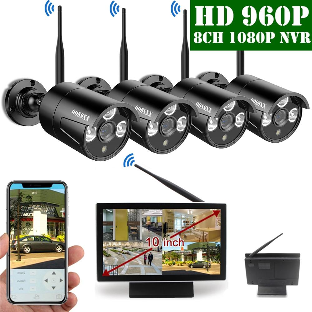 OOSSXX 8CH 1080P Wireless NVR Kit 10 Monitor Wireless CCTV 4pcs 960P Indoor Outdoor IP Camera Video Surveillance SystemOOSSXX 8CH 1080P Wireless NVR Kit 10 Monitor Wireless CCTV 4pcs 960P Indoor Outdoor IP Camera Video Surveillance System