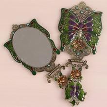 Princess portable handle folding bronze mirror