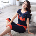 Fashion Pajamas For Women Summer Vest Cotton Calf Length Pants Pyjamas Letter Ladies Sleep Pajama Set 3 Pieces/Set